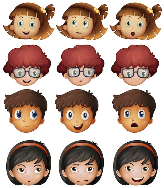 Faces of boys and girls illustration