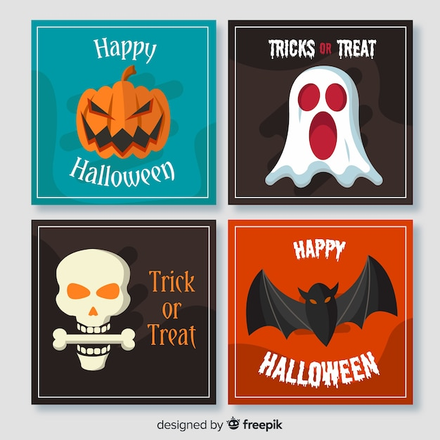 Faces of spooky halloween creatures flat cards Free Vector