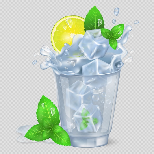 Faceted glass of mojito with ice illustration Premium Vector