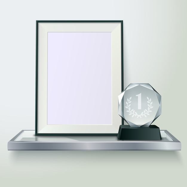 Faceted round crystal glass winner trophy and photo frame on shelf realistic side view composition Free Vector
