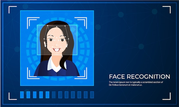 Facial biometric scanning for face recognition system Premium Vector