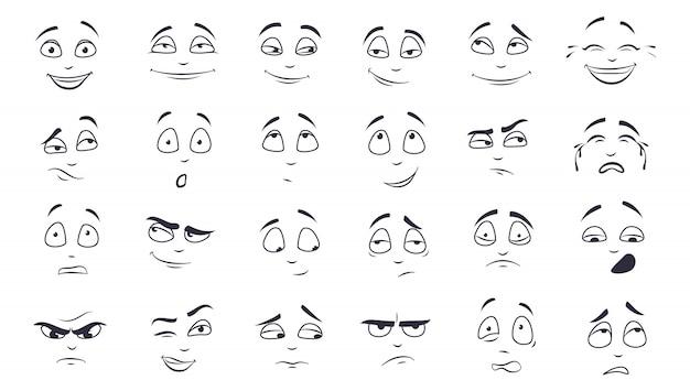 Набор иллюстрации выражение лица Бесплатные векторы