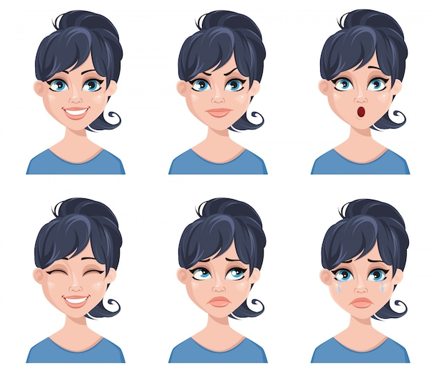 Facial expressions of a beautiful woman Premium Vector