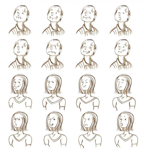 Facial expressions collection Free Vector