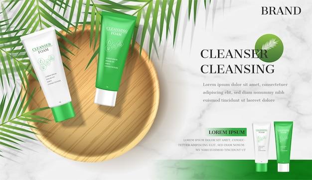 Реклама пены для лица. очищающий лосьон на тарелке с кокосом Premium векторы