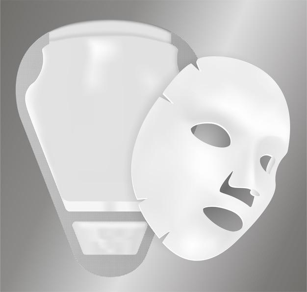 Facial mask pack with 3d vector sheet. sachet. Premium Vector