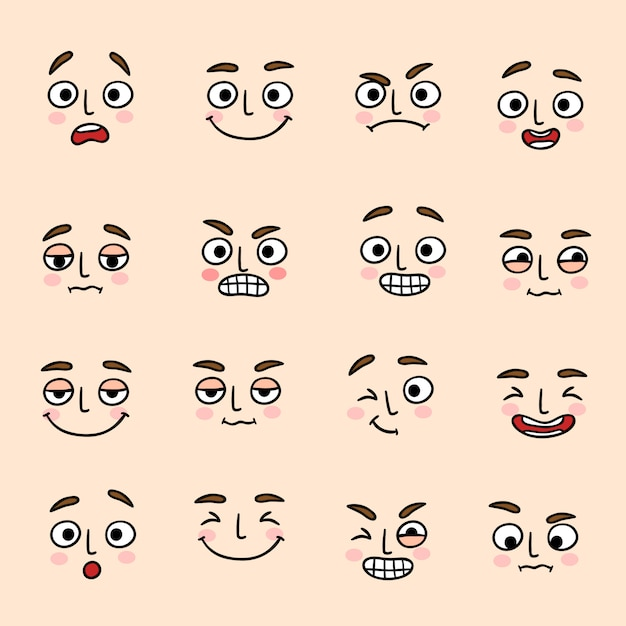 얼굴 기분 표현 아이콘을 설정 무료 벡터