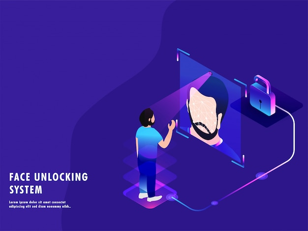 Facial scanning for face unlocking system Premium Vector