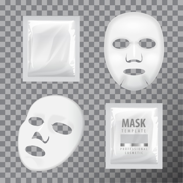 Facial sheet mask and sachet. blank vector mock up template. Premium Vector