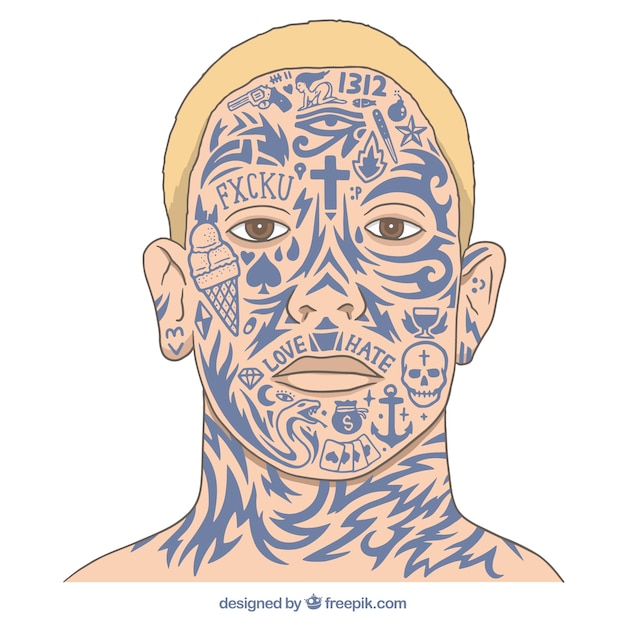 Facial tattoos Free Vector