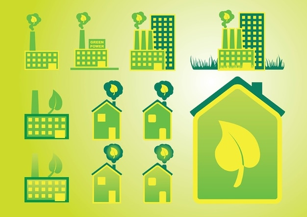 factories and houses with leaves Free Vector