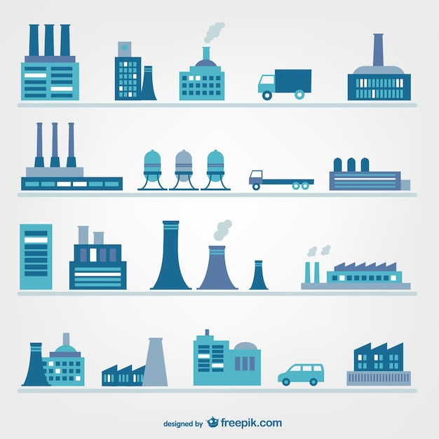 Factories and industry icons Vector | Free Download