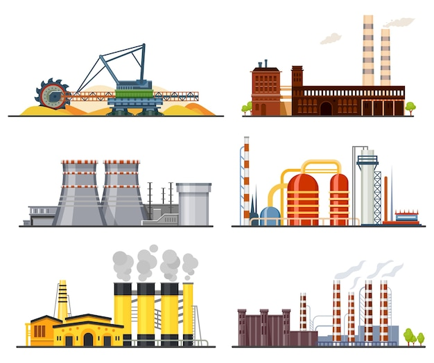 Factories and industrial plants heavy industry manufacture buildings. Premium Vector