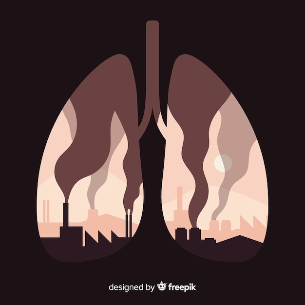 Factories and smokes inside lungs Free Vector