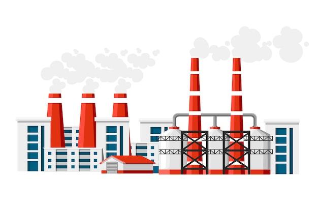 Заводы с дымовыми трубами. проблема загрязнения окружающей среды. земляной завод загрязняют углеродным газом. иллюстрация. иллюстрация на белом фоне. Premium векторы