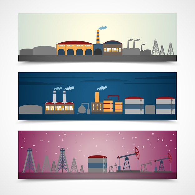 Factory banners collection Free Vector