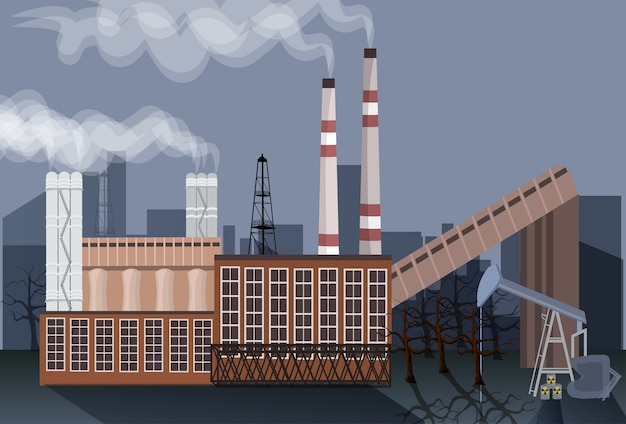 Factory building nature pollution plant pipe waste Premium Vector