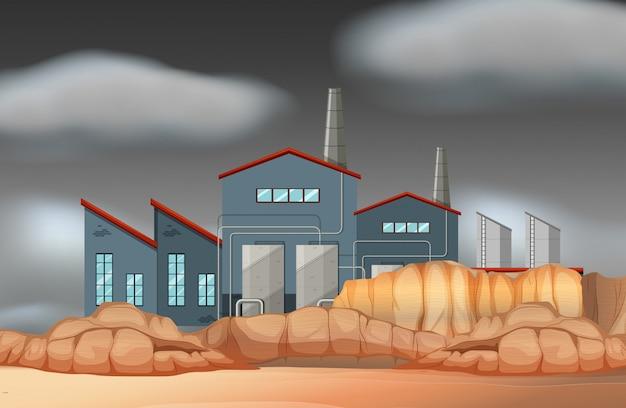 A factory building scene Free Vector