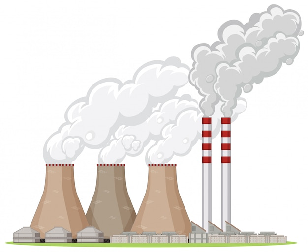 Factory building with smoke Free Vector