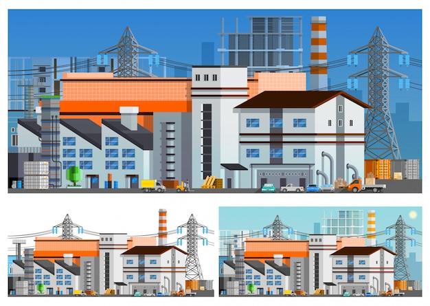 Factory buildings orthogonal compositions set Free Vector