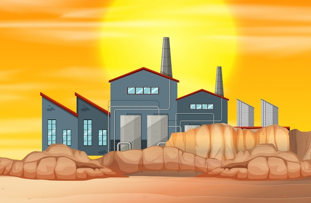 Factory in dry land Free Vector