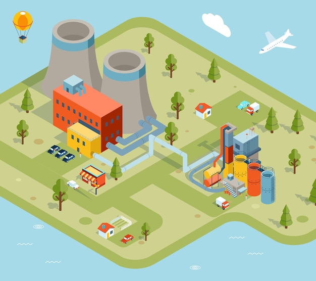 Factory in flat style in isometric view Premium Vector