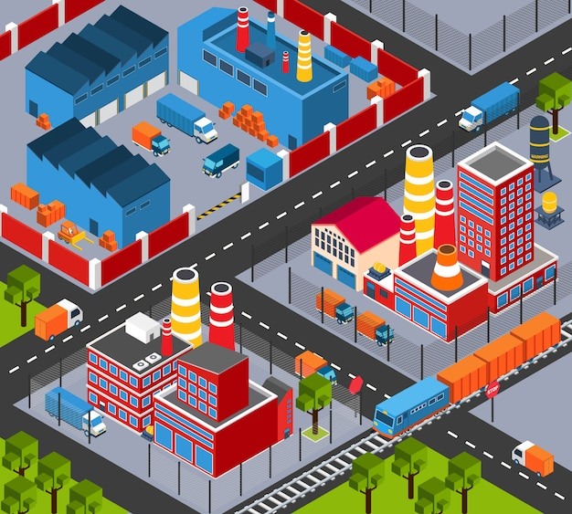 Factory infrastructure isometric Free Vector