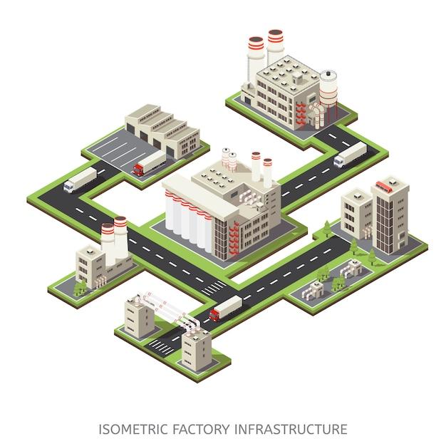 Infrastruttura di fabbrica isometrica Vettore gratuito