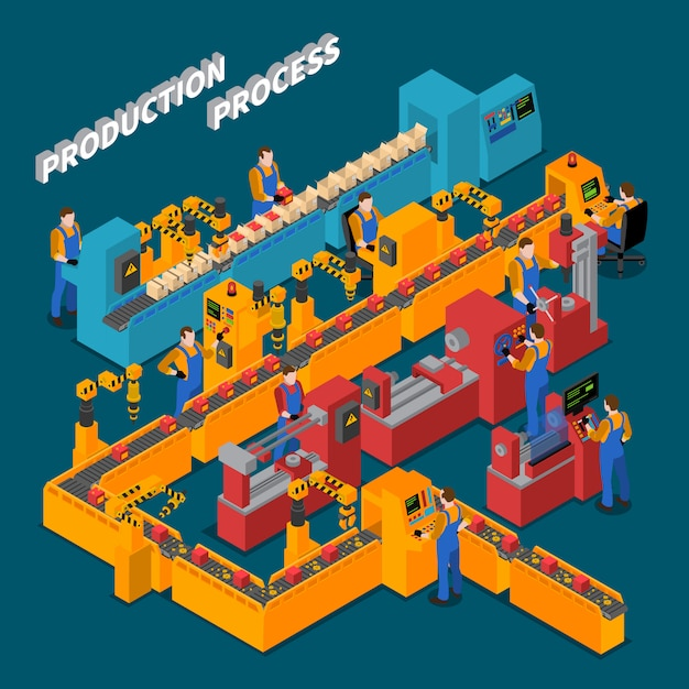 Factory isometric composition Free Vector