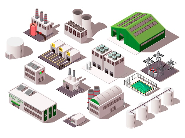 Factory isometric set Free Vector