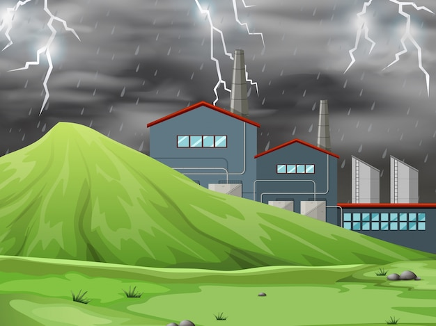 A factory in nature scene background Free Vector
