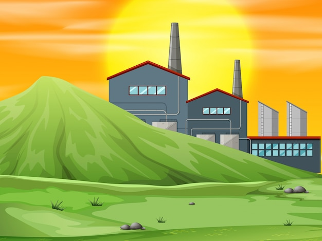 A factory in nature scene Free Vector