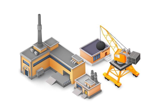 산업 구조물, 노란색 및 회색 건물, 기계 및 다른 도구 개념 흰색에 공장 개체 디자인 개념 무료 벡터
