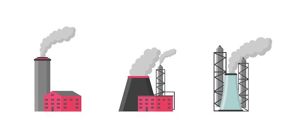 工場または工業ビルフラットスタイルのアイコンセット。 Premiumベクター