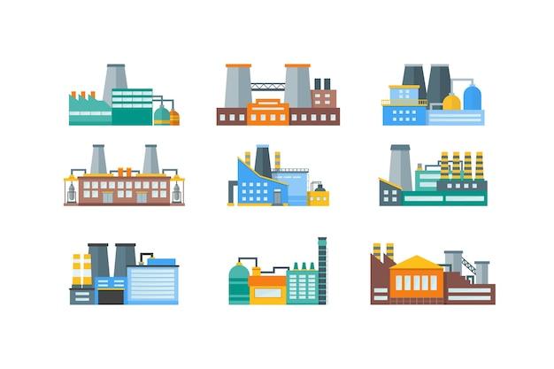 工場または工業用建物スタイルセット。 Premiumベクター