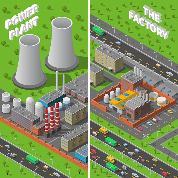 Factory plant industrial isometric vertical banners Free Vector