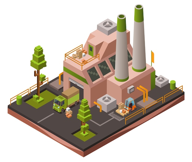 Factory plant isometric 3D or map industrial zone with loader forklift trucks  Free Vector