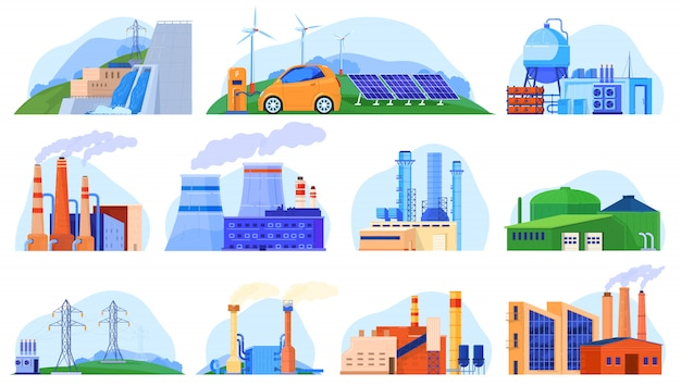 Factory power plants set of industrial constructions, urban enviroment, manufacturing stations   illustration. Premium Vector