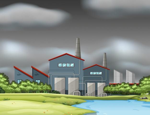 A factory scene in cloudy day Free Vector