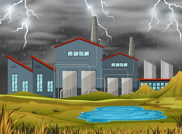 Factory in a storm illustration Free Vector