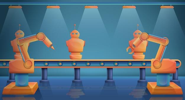 Фабрика с станками, производящими роботов, векторная иллюстрация Premium векторы