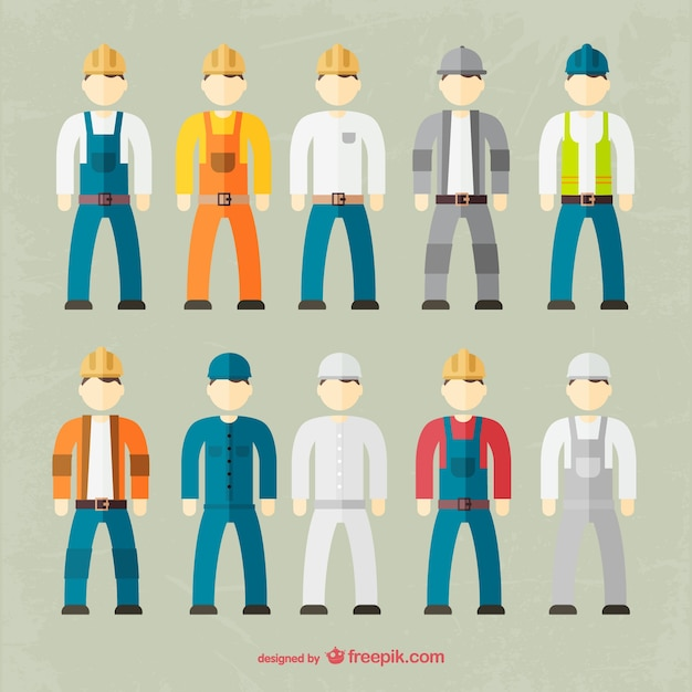 Factory worker outfit collection Free Vector