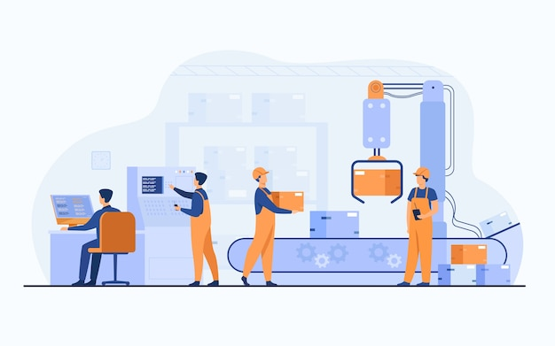 Рабочие завода и робот-манипулятор снимают пакеты с конвейерной линии. инженер, использующий компьютер и рабочий процесс. векторная иллюстрация для бизнеса, производства, концепции машинной технологии Бесплатные векторы
