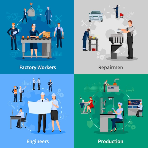 Factory workers card set Free Vector