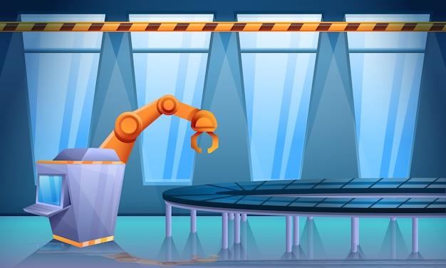 Заводская мастерская с конвейером и роботизированной рукой, векторная иллюстрация Premium векторы