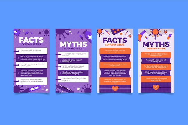 Facts and myths about coronavirus for instagram stories Free Vector