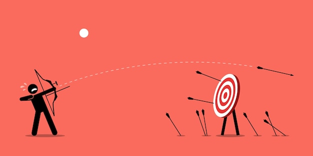 Failing to hit the target. man desperately trying to shoot arrows with bow to hit the bullseye but failed miserably. Premium Vector