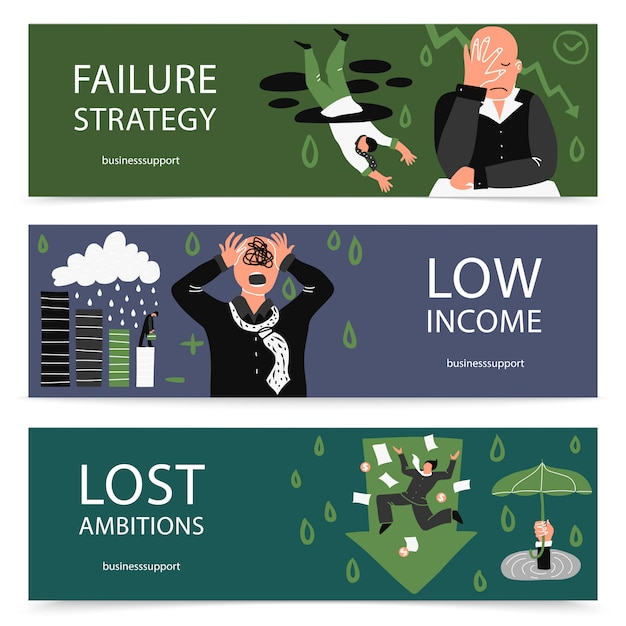 Failure business banner set Free Vector