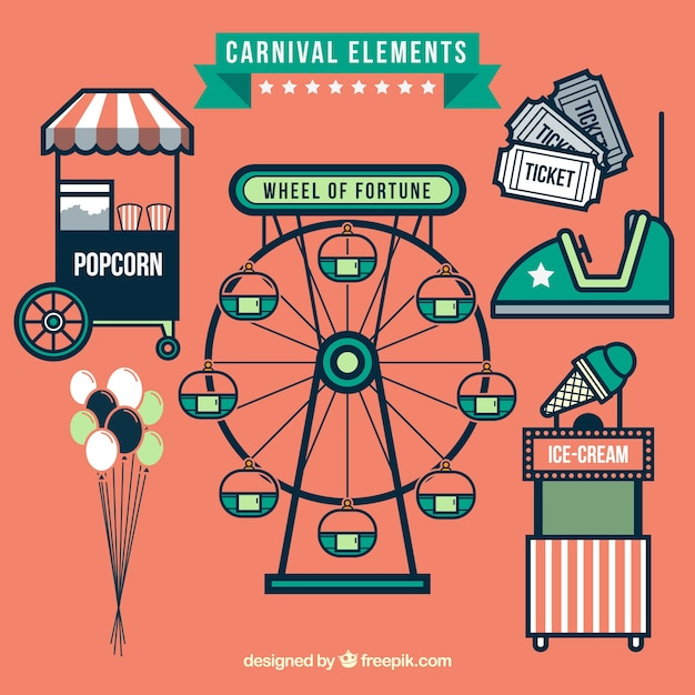Fair elements in flat style Free Vector