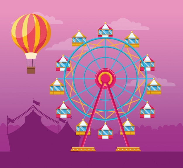 Fair festival with fun attractions scenery Free Vector